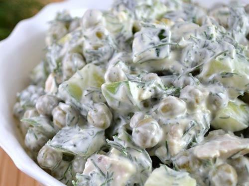 Салат с курицей горошком и огурцом рецепт